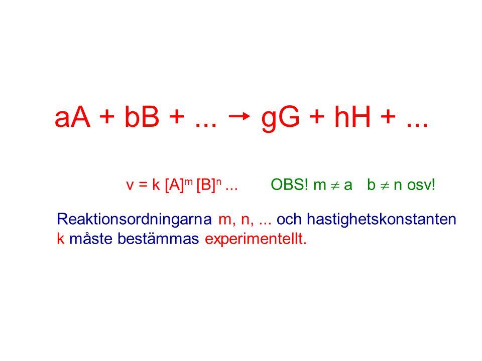 aA + bB + ...  gG + hH + ... v = k [A]m [B]n ... OBS! m a b  n osv!